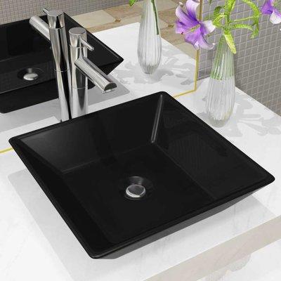 Wastafel vierkant 41,5x41,5x12 cm keramiek zwart