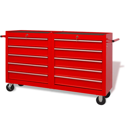 Gereedschapswagen met 10 lades maat XXL staal rood
