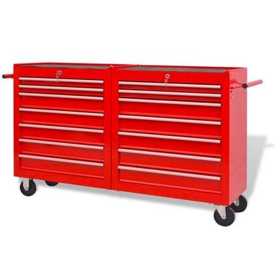 Gereedschapswagen met 14 lades maat XXL staal rood