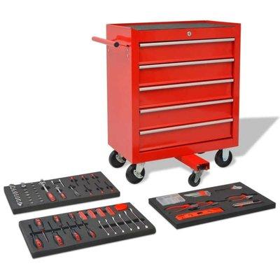 Gereedschapswagen met 269 gereedschappen rood staal