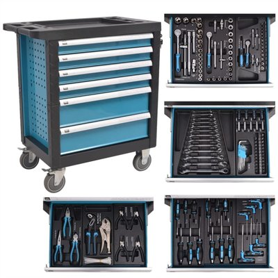 Gereedschapstrolley met 270 gereedschappen staal blauw