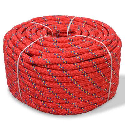 Boot touw 6 mm 100 m polypropyleen rood