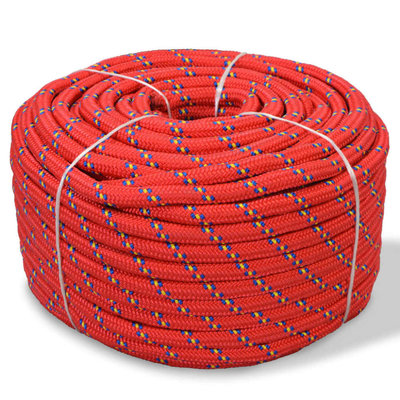 Boot touw 8 mm 100 m polypropyleen rood