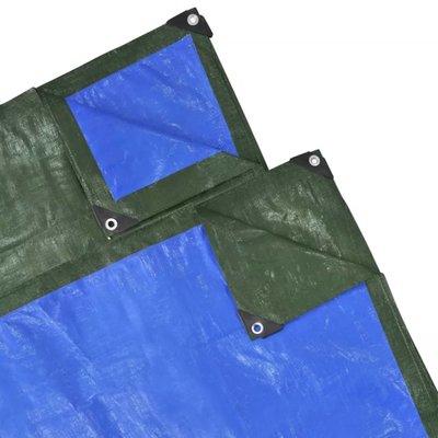 Regenhoes 4x6 m PE 210 g/m² groen en blauw