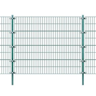 Omheiningspaneel met palen groen ijzer 6x1,6 m