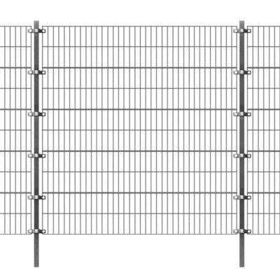 Omheiningspaneel met palen 6x2 m antraciet