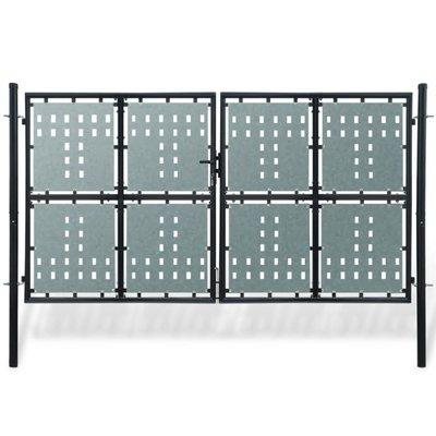 Tuinpoort dubbele deur zwart 300 x 225 cm