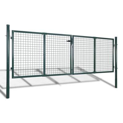 Tuinpoort 289x100 cm/306x150 cm staal groen