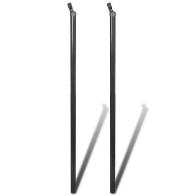 Steunpaal voor ketting hekwerk 195 cm grijs 2 st