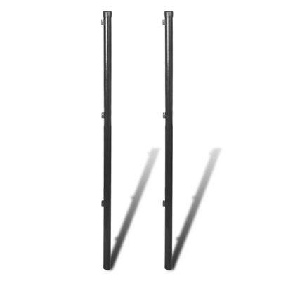 Schuttingpaal voor ketting hekwerk 170 cm grijs 2 st
