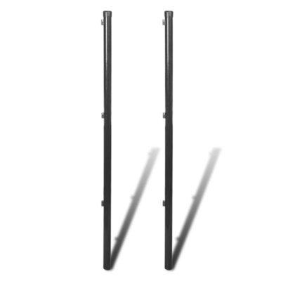 Schuttingpaal voor ketting hekwerk 195 cm grijs 2 st