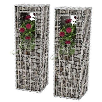 Schanskorf paal/plantenbak staal 50x50x160 cm 2st
