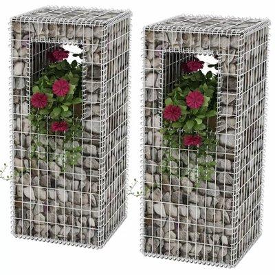 Schanskorf paal/plantenbak staal 50x50x120 cm 2st