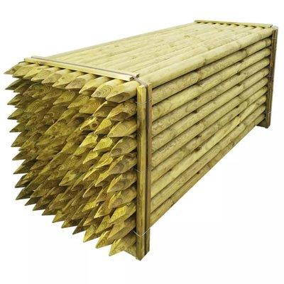 Schuttingpaal met punt 100 stuks 8 x 240 cm hout