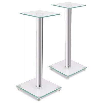 Luidsprekerstandaard van glas (2 stuks / elk met 1 zilveren zuil)
