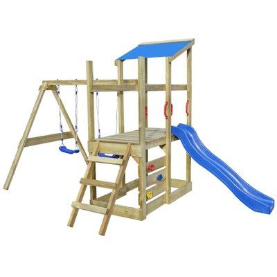 Speelhuis met ladder, glijbaan en schommels 400x226x235 cm hout