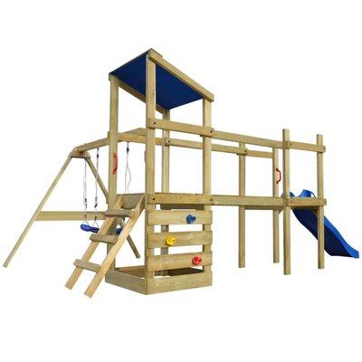 Speelhuis met ladder, glijbaan en schommels 463x275x235 cm hout