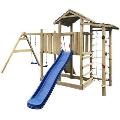 Speelhuis met glijbaan, ladder en schommels 516x450x270 cm hout