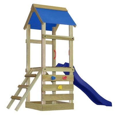 Speelhuis met ladder en glijbaan 260x90x245 cm hout