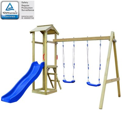 Speelhuis + glijbaan/ladder/schommels 242x237x218 cm grenenhout