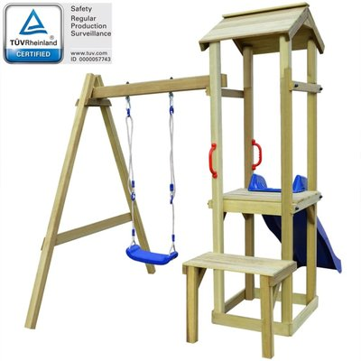 Speelhuis set + glijbaan en schommel 228x168x218 cm grenenhout