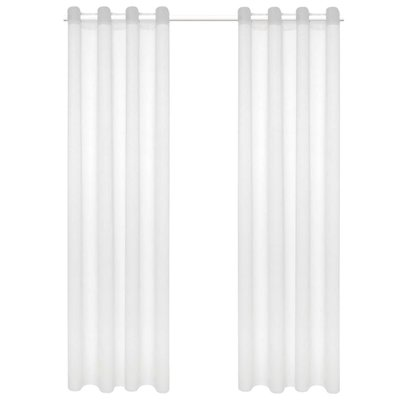 Glasgordijnen linnen-look 140x175 cm wit 2 st