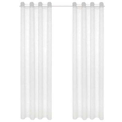 Glasgordijnen linnen-look 140x225 cm wit 2 st