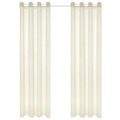 Glasgordijnen linnen-look 140x175 cm crème 2 st