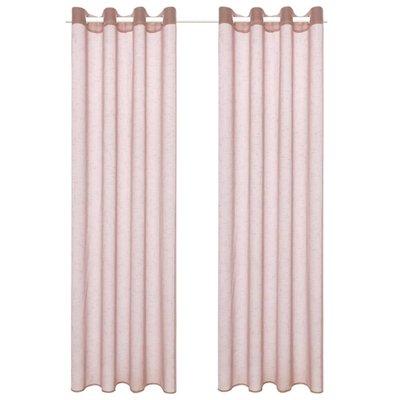 Glasgordijnen linnen-look 140x175 cm roze 2 st