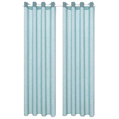 Glasgordijnen linnen-look 140x175 cm turquoise 2 st