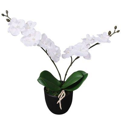 Kunst orchidee plant met pot 30 cm wit
