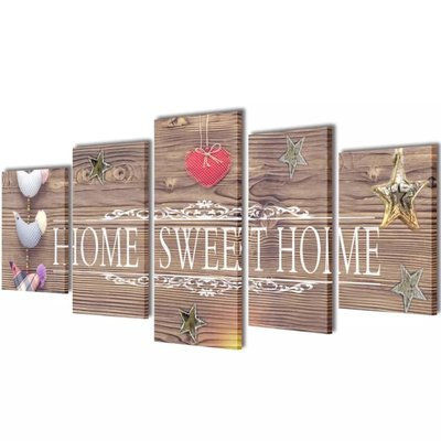 Canvas Wall Print Set Home Sweet Home Design 200 x 100 cm