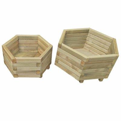 Plantenbakken set geïmpregneerd grenenhout 2-delig