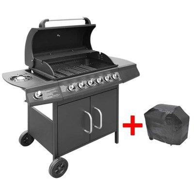 Gasbarbecue 6+1 branders zwart