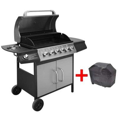 Gasbarbecue 6+1 branders zwart en zilver