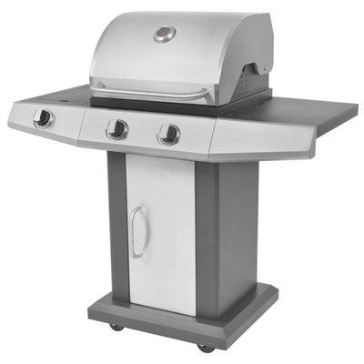 Gasbarbecue en grill 2+1 branders zwart en zilver