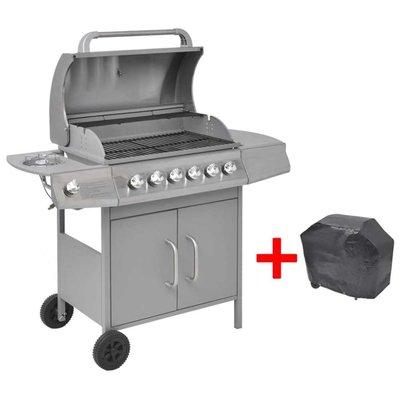 Gasbarbecue 6+1 branders zilver