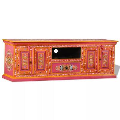 Tv-meubel handgeschilderd massief mangohout roze