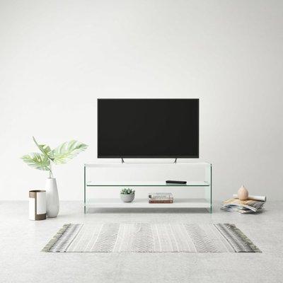 Tv-meubel hoogglans glas MDF wit