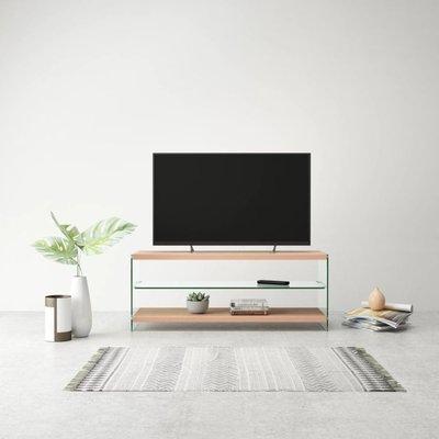 Tv-meubel hoogglans glas MDF eikenkleur