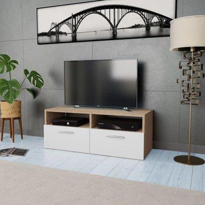 Tv-kast 95x35x36 cm spaanplaat eikenkleurig en wit