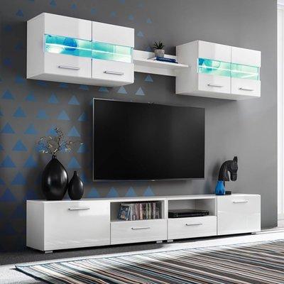 Tv-wandmeubelset met LED-verlichting hoogglans wit 5-delig