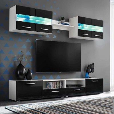 Tv-wandmeubelset met LED-verlichting hoogglans zwart 5-delig