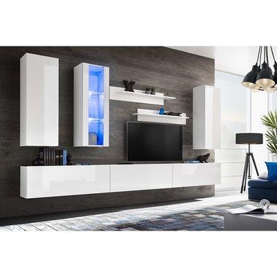 Tv-wandmeubelset met LED-verlichting hoogglans wit 8-delig