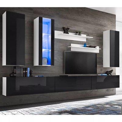 Tv-wandmeubelset met LED-verlichting hoogglans zwart 8-delig