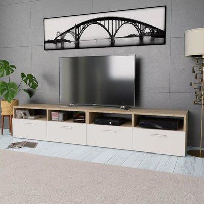 Tv-kast 95x35x36 cm spaanplaat eikenkleurig en wit 2 st