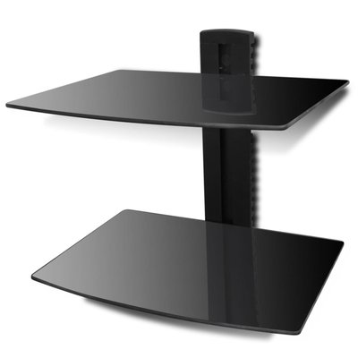 Glazen wandrek met 2 planken voor DVD's