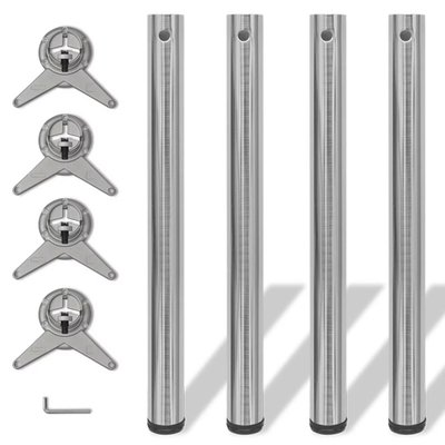 Tafelpoten in hoogte verstelbaar geborsteld nikkel 710 mm 4 st