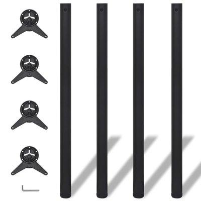Tafelpoten in hoogte verstelbaar zwart 1100 mm 4 st