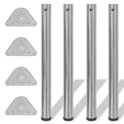 Tafelpoten in hoogte verstelbaar 710 mm geborsteld nikkel 4 st